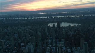 Sunset Central Park New York Aerial