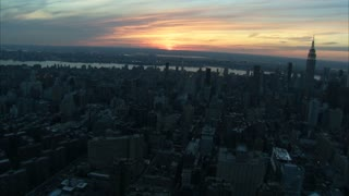 Sunset Over New York City Aerial 2