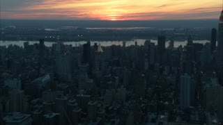 Sunset Over New York City Aerial 3