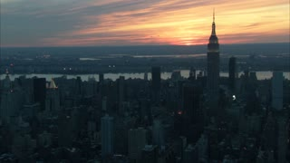 Sunset Over New York City Aerial 4