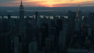 Sunset Over New York City Aerial 5