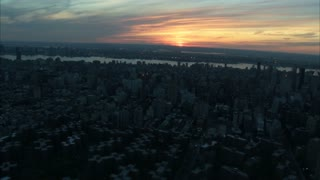 Sunset Over New York City Aerial