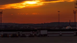 Sunset Timelapse Paris Orly Airport - France