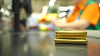 Supermarket checkout shallow focus video
