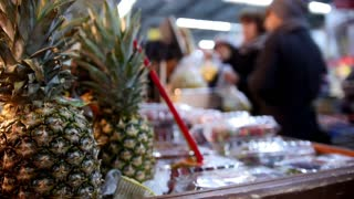 Supermarket - pineapple in fruit Department