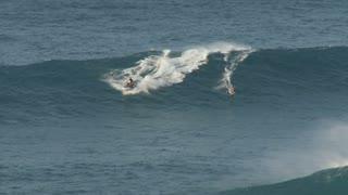 Surfer Outruns Wave