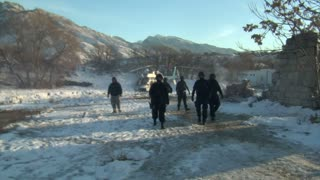 Swat Team And Helicopter On Winter Film Set