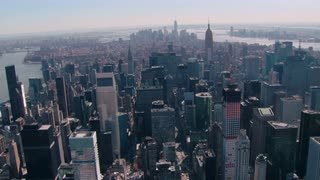 Sweeping New York City Aerial Looking Downtown