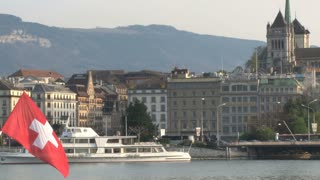 Swiss Flag at Lake Geneva 2