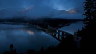 T/L Bridge over Sylvenstein Lake, Bavarian Alps, Bavaria, Germany