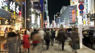 T/L Chuo-dori, the most fashionable shopping street in Tokyo, Illuminated shops in the evening, Ginza, Tokyo, Honshu, Japan, Asia