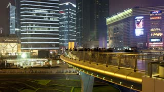 T/L Circular pedestrian walkway above a traffic roundabout, Century Avenue, Pudong, Shanghai, China