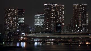T/L Lights flickering in Apartment buildings at night, Tokyo, Honshu, Japan