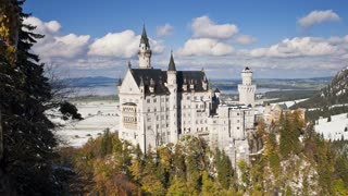 T/L Neuschwanstein Castle in mountain landscape, Bavaria, Germany