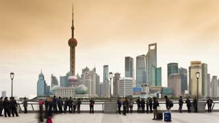 T/L New Pudong skyline, looking across the Huangpu River from the Bund, Shanghai, China