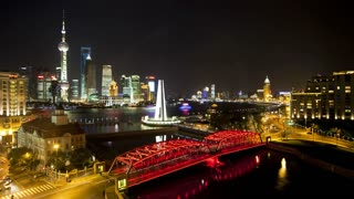 T/L New Pudong skyline, Waibaidu (Garden) Bridge, looking across the Huangpu River from the Bund, Shanghai, China