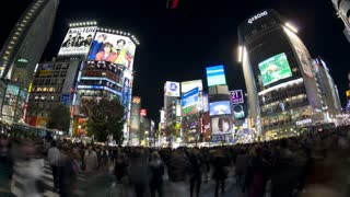 T/L  Pedestrians and traffic across Shibuya Crossing at night, Shibuya, Tokyo, Honshu, Japan