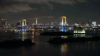 T/L  Tokyo Tower and Rainbow Bridge at night, viewed from Odaiba artificial Island, Tokyo, Honshu, Japan