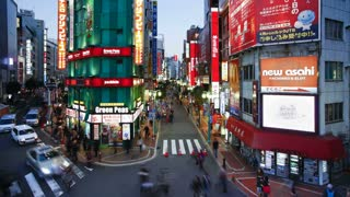 T/L wide shot traffic and pedestrians on Musashino Street in Shinjuku, Tokyo, Honshu, Japan