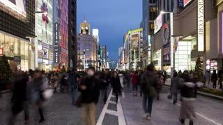 T/L wide view along Chuo-dori, the most fashionable shopping street in Tokyo, Ginza, Tokyo, Honshu, Japan, Asia