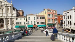 T/L WS People crossing a  bridge spanning the Grand Canal, Venice, Veneto, Italy