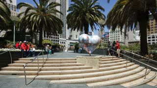 T/lapse view of people in downtown Union square, San Francisco, California, USA