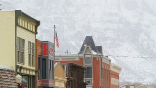 Telluride Buildings Against Mountains