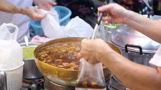 Thai Street Food Soup Sell on Market in Asia , Thailand
