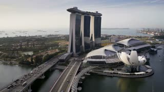 The Artscience Museum, Helix Bridge and Marina Bay Sands Singapore. Marina Bay, Singapore, Asia, Time lapse