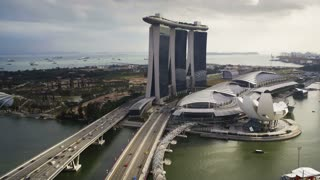 The Artscience Museum, Helix Bridge and Marina Bay Sands Singapore, Marina Bay, Singapore, Asia, Time lapse