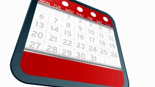 The big Tax Day, the 31st , is circled on a white calendar with a blue marker. Ultra High Definition 4K animation video.