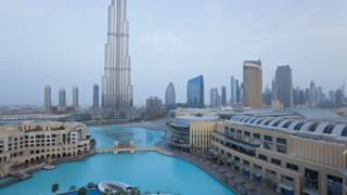 The Burj Khalifa and Dubai Skyline, Dubai, UAE, T/Lapse