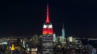 The Empire State Building in Red in Manhattan New York City Night Timelapse