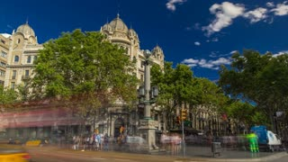 The famous Ramblas street timelapse hyperlapse with unidentified walking tourists in Barcelona, Spain. View from Catalonia Square with car traffic on road 4K
