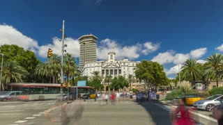 The famous Ramblas street timelapse hyperlapse with unidentified walking tourists in Barcelona, Spain. View from square near Columbus monument with car traffic on road 4K