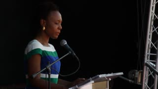 The First Lady Of Haiti Makes A Speech