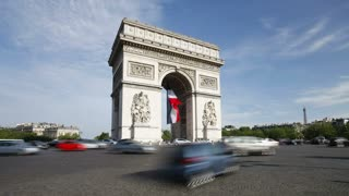 The flow of traffic at the Arc de Triomphe in Paris, France - T/Lapse