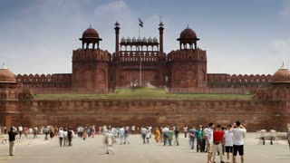The Lahore Gate, the red sandstone main gate to the Red Fort, UNESCO World Heritage Site, Old Delhi, India, Asia