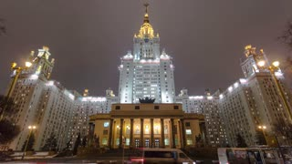 The Main Building Of Moscow State University On Sparrow Hills At Winter timelapse hyperlapse at Night, Russia 4K