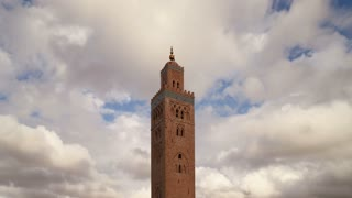 The minaret of Koutoubia Mosque in Marrakech, Morocco, North Africa