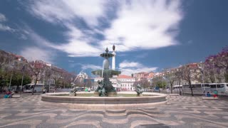 The National Theatre D. Maria. Theatre is situated on Rossio Square, one of the most famous squares in the center of Lisbon, Portugal. timelapse hyperlapse 4K