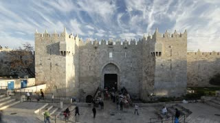 The Old City Damascus Gate, Jerusalem, Israel, Middle East, Time lapse