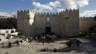 The Old City, Damascus Gate Middle East, Israel, Jerusalem, Middle East, Time lapse