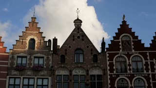 The Original Architecture of buildings in Burg Square, the Old Town Square, Bruges, Belgium, T/Lapse