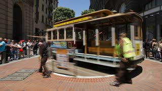 The Powell Cable Car Turnaround in San Francisco, California T/lapse