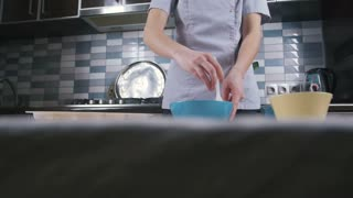 The process of preparing cake in form of heart, slow motion