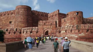 The Red Fort, built by the Moghul emperor Akbar, Agra, Uttar Pradesh, India