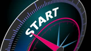The speedometer shows the motion blur word Start, startup business. 4K animation business concept seamless loop
