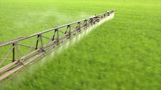 the sprayer sprays young wheat