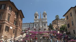 The Triniti dei Monti Church at Top of Spanish Steps zoom in